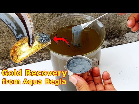 Gold recovery from Aqua regia acid Use zinc powder.