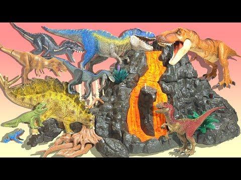 Big volcano and Tyrannosaurus dinosaur big set Shreich Ania