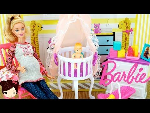 El Cuarto de la Bebe de Barbie y Ken - Guarderia de Barbie Embarazada