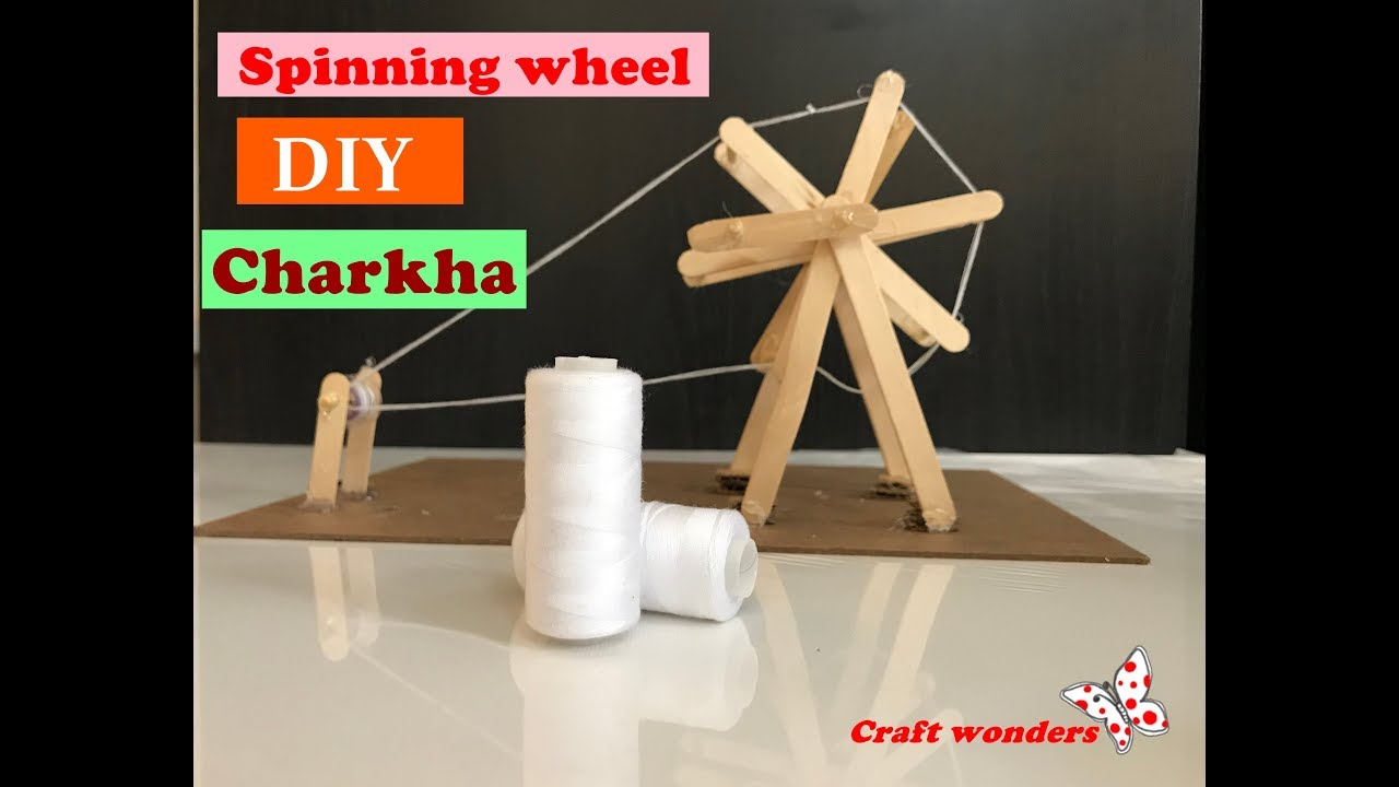 How to make Miniature Charkha using popsicles sticks/ Gandhi Jayanti  project / DIY