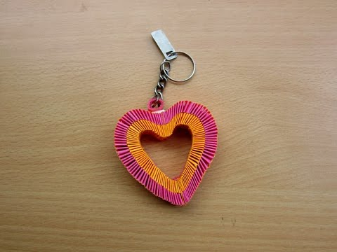 How to Make a Paper Heart Keychain - Easy Tutorials