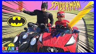 SUPERHEROES BATTLE POWER WHEELS RACE Ride On Car for kids Batman vs Spiderman Egg Surprise Toys