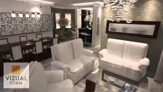 Aranżacja wnętrza salonu połączonego z kuchnią  The interior design living room with kitchen