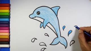 Easy and simple Dolphin Drawing for kids