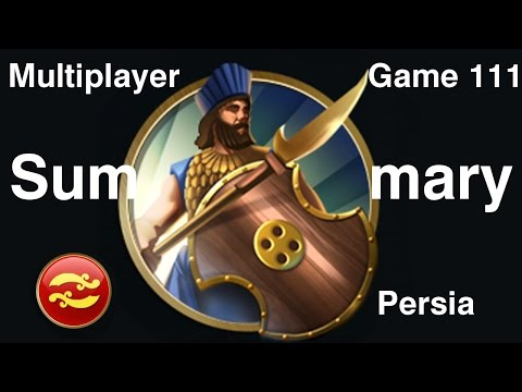 Civilization 5 Multiplayer 111: Persia [Summary] ( BNW 6 Player Free For All) Gameplay/Commentary
