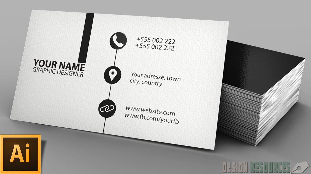 Clean modern business card illustrator tutorial youtube reheart Gallery