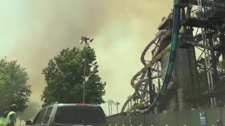 Magic Mountain evacuated after brush fire