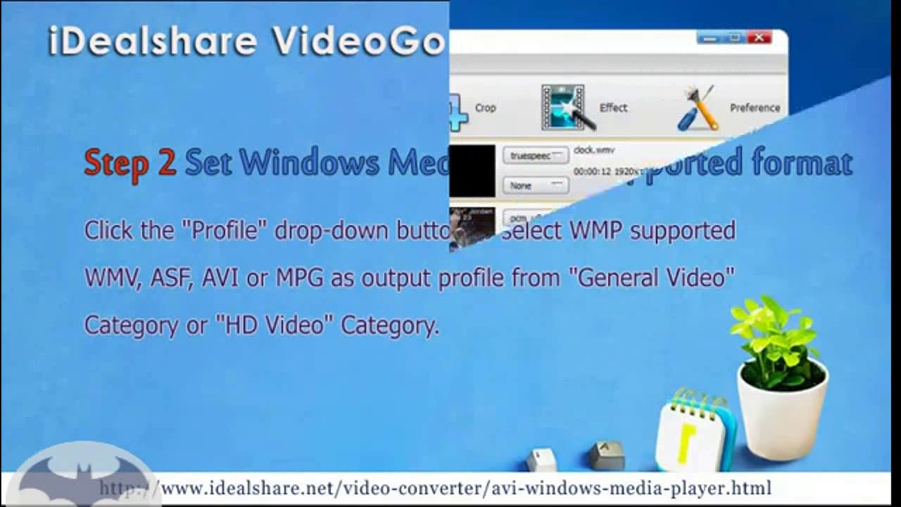 Convert avi to windows media player supported format on windows.