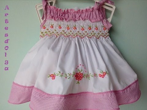 6dbe994bb How to make a dress with hand embroidery-Smocking - YouTube