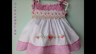 How to make a dress with hand embroidery-Smocking