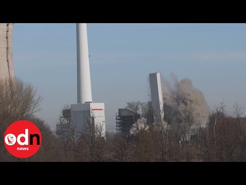 Dramatic footage shows power station blown up