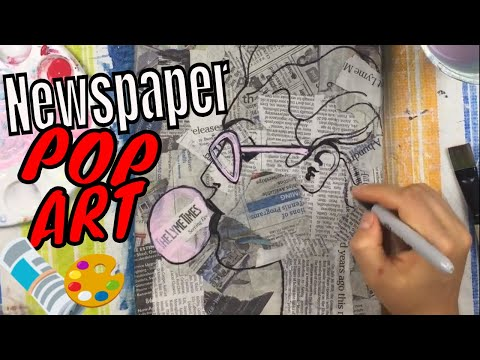 Bubble Gum Girl Pop Art on Newspaper Canvas | Acrylic Painting Tutorial