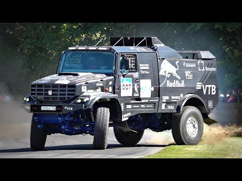 1000HP 10-Ton Kamaz Dakar Truck Going Sideways Up The Goodwood Hill | 12.5 Liter Diesel V8