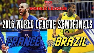 Brazil vs  France 2016 World League SEMIFINALS - FULL MATCH All Breaks Removed