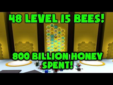 48 LEVEL 15 BEES - 800 BILLION SPENT! - Roblox Bee Swarm Simulator