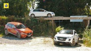Vergleichstest Allradler: Mazda CX-3, Peugeot 4008 und VW Golf 4Motion