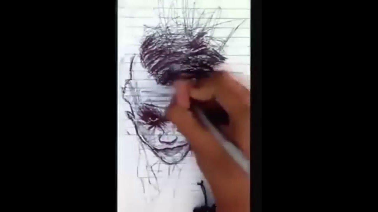 Joker Scribble Drawing : Ballpoint pen drawing of joker portrait from scribbles wip