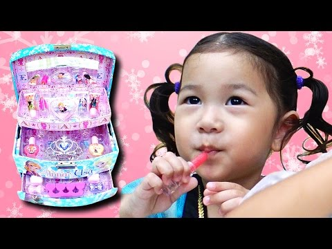 自分でメイクしたよ♪☆アナと雪の女王メイクボックス☆Frozen Make-up Box himawari-CH