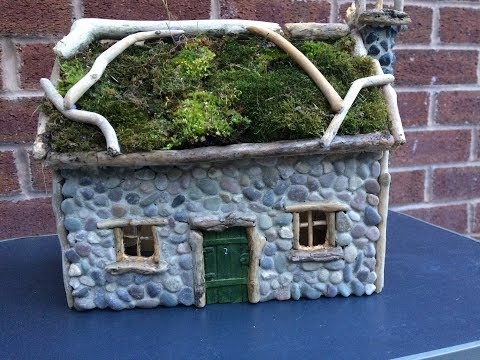 How To Make Miniature Living Garden Cottage, Fairy House, Garden Light
