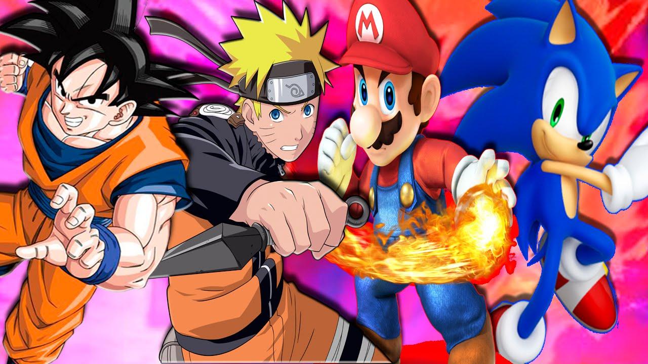 Goku VS Naruto Vs Super Mario Vs Sonic Epico  Super Smash Flash 2