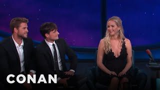 jennifer lawrence is ready for a hunger games threesome conan on tbs
