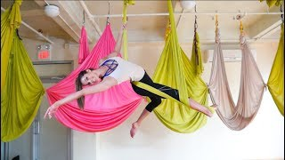 Iris Mittenaere Takes an Aerial Yoga Class at Om Factory