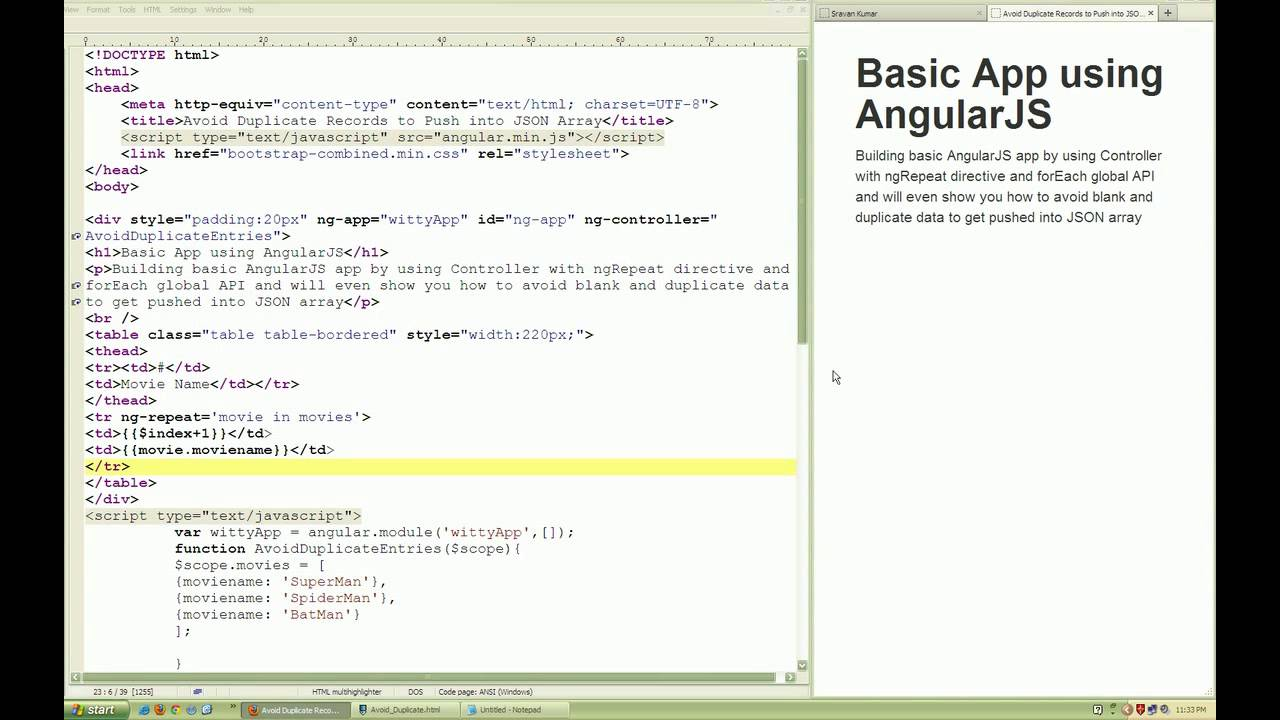 Avoid empty and duplicate records to get pushed in AngularJS