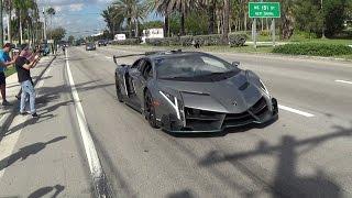 Lamborghini Veneno Driving + Revving  Bullfest 2017 At Lambo Home Lamborghini Miami