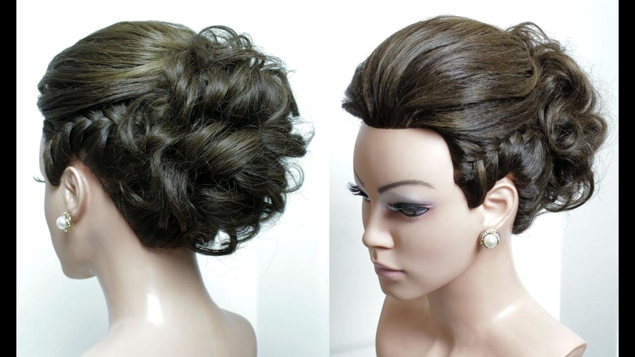 Brial hairstyle for long hair tutorial. Wedding updo with braids step ...