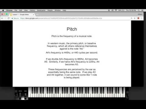Music Theory Lesson 1: Pitch, Octaves and Semitones
