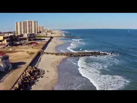 Drone Flight Over Jersey Shore Private beaches, Long Branch NJ