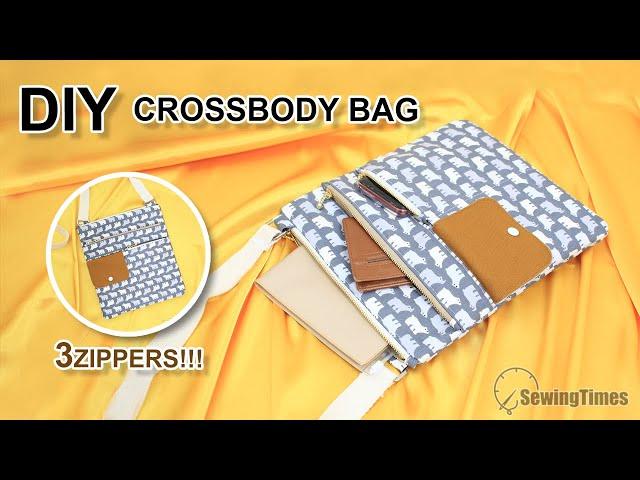 DIY TripleZip CROSSBODY BAG  | Multi Pockets Hipster Bag Tutorial [sewingtimes]