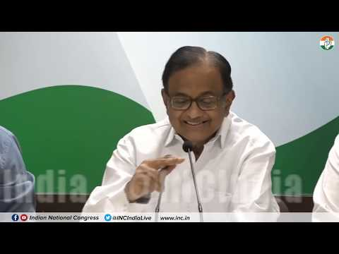 AICC Press Briefing By P. Chidambaram at Congress HQ on Jan Dhan