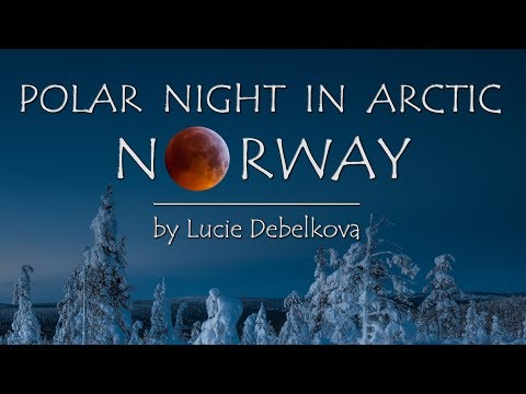 Polar Night with Northern Light & Moon Eclipse in Arctic Norway - Timelapse 4K