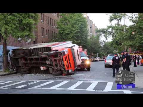 Fresh Direct Truck Flipped Over After Crash in Brooklyn