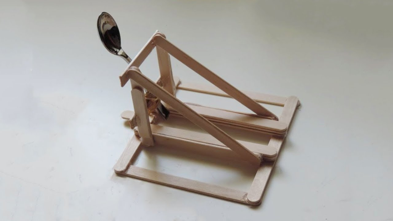 How to Make a Spoon Catapult Out of Popsicle Sticks Hd Youtube