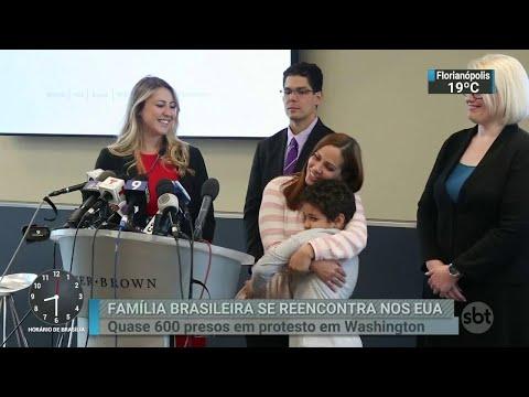 Brasileira e filho se reencontram após separação nos EUA   SBT Brasil (29/06/18)
