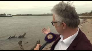 Scheepswrak komt boven water in Waal bij Gendt