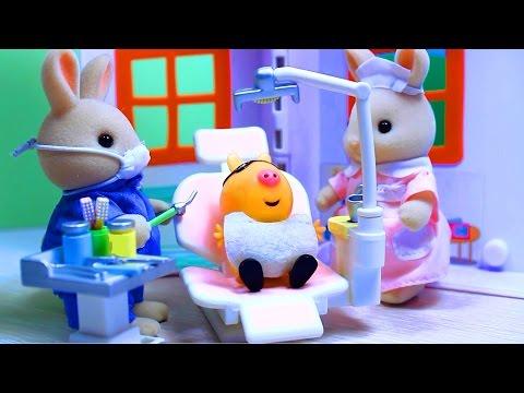 Peppa Pig. Свинка Пеппа. Мультфильм с игрушками. Зубной кабинет доктора Зайца .