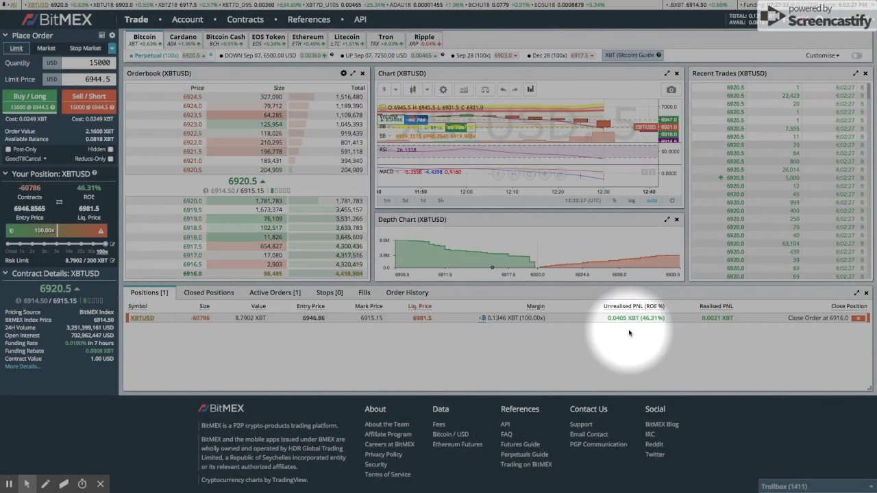Bitmex 100x Leverage - Live Trade Closed with Profit