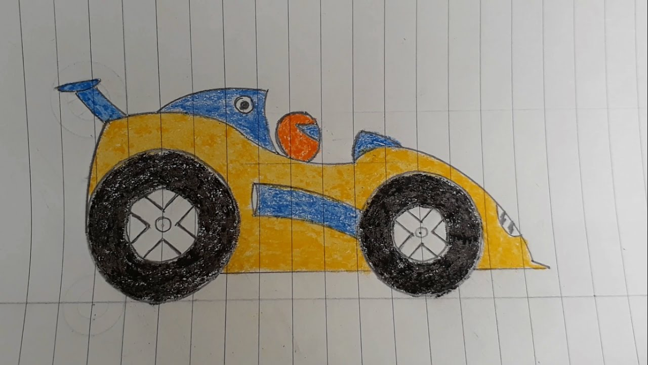 Kid family  Learn how to draw the racing car step by step ...