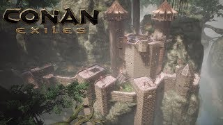 Conan Exiles - Building a Jungle Cliff Castle (Speed Build)