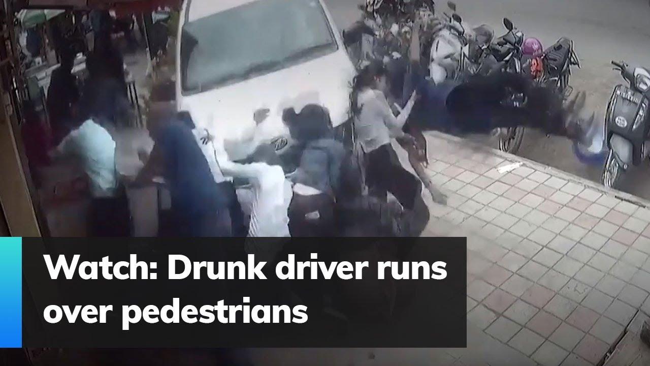 Watch: Drunk driver runs over pedestrians