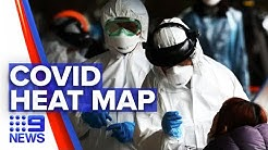 Coronavirus: New heat map for COVID-19 cases | Nine News Australia