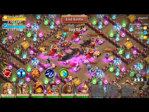 Castle Clash Trying To Kill ALL Bosses & Dragon In Last Expert Dungeon 8-10-