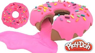 Play Doh How to Make a Giant SLIME Jelly Donut RainbowLearning