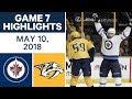NHL Highlights | Jets vs. Predators, Game 7 - May 10, 2018
