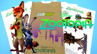 2016 SUBWAY DISNEY ZOOTOPIA MOVIE 3D KIDS MEAL BAG POSTER SET OF 6 KIDS MEAL TOYS REVIEW
