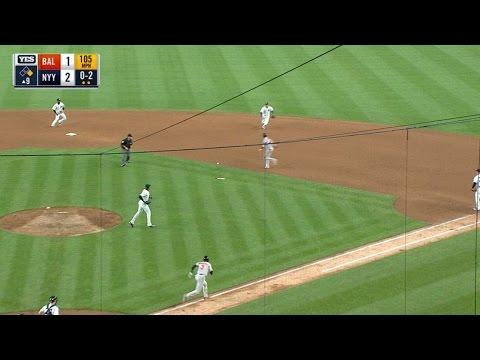 Chapman earns save as ball hits broken bat
