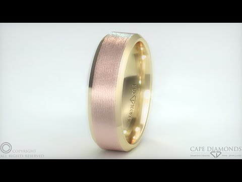 546. 2-Tone Brushed Yellow Gold Polished Rose Gold Men's Wedding Bands In  Cape Town